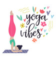 yoga girl vibes colorful concept poster vector image vector image
