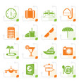 stylized travel trip and tourism icons vector image