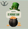 green hat two-leaf clover and horseshoe iron pot vector image