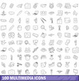 100 multimedia icons set outline style vector image vector image