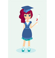 a little girl Holding Her Diploma vector image vector image
