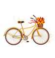 Autumn bicycle with colorful leaves