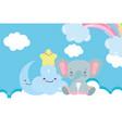 bashower cute elephant half moon star cloud vector image vector image