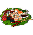 beautiful sushi set on the green lettuce leaf vector image