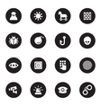 black flat security icon set vector image vector image