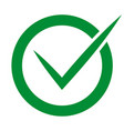 check in circle green colored on white background vector image