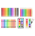colorful pen marker and watercolor palette tools vector image
