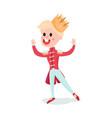 cute blonde cartoon boy character in prince vector image vector image