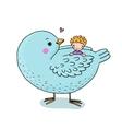 cute cartoon baby and big bird