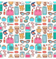 cute hipster stickers scrapbook seamless pattern vector image