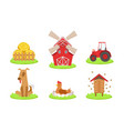 different farm elements set farm animals vector image
