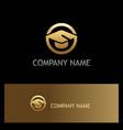 education graduation hat gold logo vector image