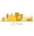 el paso texas usa city skyline golden silhouette vector image vector image