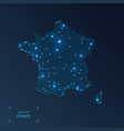 france map with cities luminous dots - neon vector image