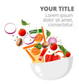 healthy fresh vegetable and green leaf salad dish vector image