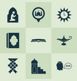 holiday icons set with namaz room oil beg and vector image vector image