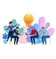 idea big bulb above business team working talking vector image