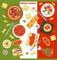 italian cuisine pizza and pasta italy food dishes vector image vector image