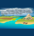 landscape lagoon in rain day vector image vector image