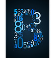 Letter B font from numbers vector image vector image