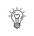 lightbulb idea love icon feelings thin vector image vector image