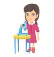 little caucasian schoolgirl using a microscope vector image