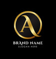 luxury letter a logo template in gold color royal vector image