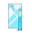 Man With Squeegee Washing Window Cleaning Service