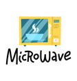 microwave oven logo with hand drawn lettering vector image