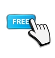 Mouse hand cursor on FREE button vector image vector image