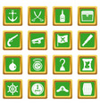 pirate icons set green vector image vector image