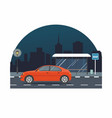 red car drive on road on background of night city vector image vector image
