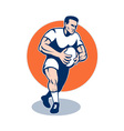 retro rugby player vector image vector image