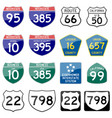 road sign glossy set of sign glossy vector image