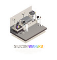 silicon chip production background vector image vector image