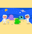 Spacemen playing soccer with cartoon aliens vector image