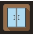 Two glass doors icon flat style vector image vector image