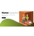 two men examining room in house poster vector image vector image