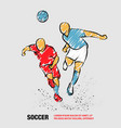 two soccer players fighting for ball vector image vector image