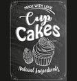 vintage cakes with cream poster design on chalk vector image vector image