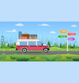 vintage car on city background vector image vector image