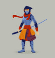 warrior attacks asian cartoon style vector image vector image
