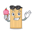 with ice cream wooden cutting board character vector image