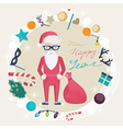 Christmas and New Year card with funny Santa Claus vector image