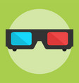 3d cinema glasses flat icon vector image