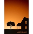 a house with a tree at sunset vector image