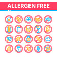 allergen free products thin line icons set vector image vector image
