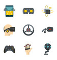 augmented reality icons set flat style vector image