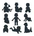 Baby kids silhouette vector image vector image