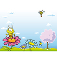 bee cartoon sitting on flower vector image
